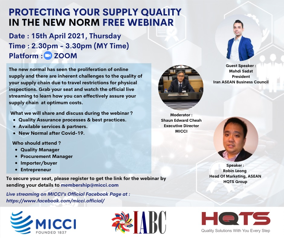 Protecting Your Supply Quality In The New Norm – Free Webinar By MICCI